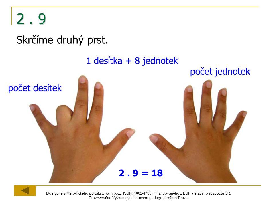 2 . 9 Skrčíme druhý prst. 1 desítka + 8 jednotek počet jednotek