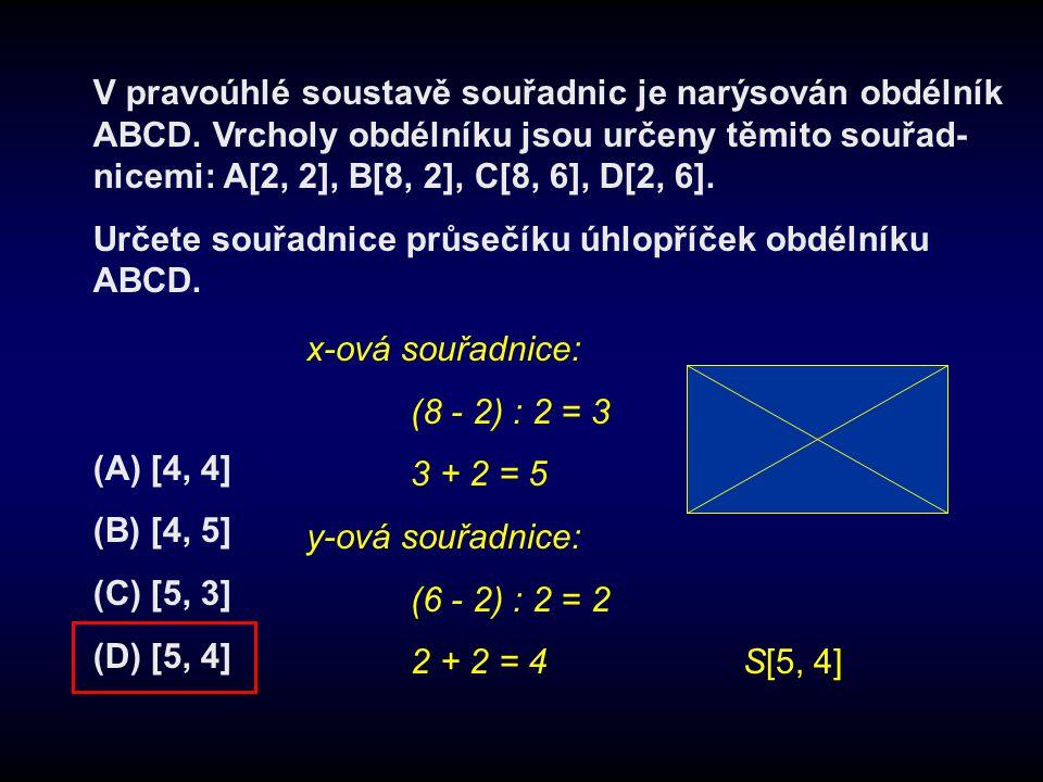 V pravoúhlé soustavě souřadnic je narýsován obdélník ABCD
