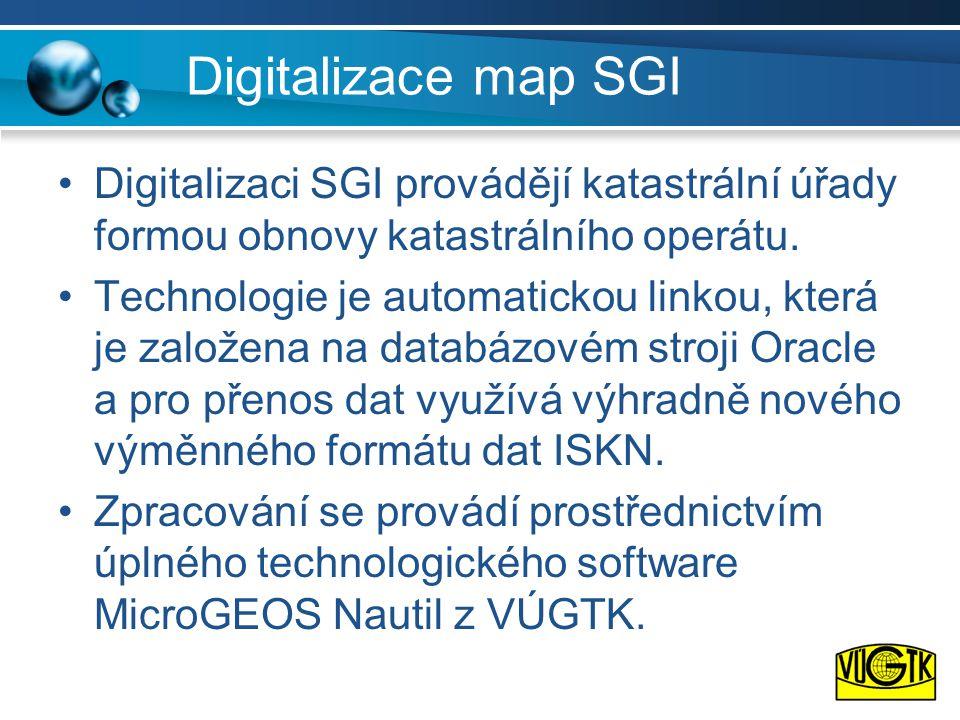 Digitalizace map SGI Digitalizaci SGI provádějí katastrální úřady formou obnovy katastrálního operátu.
