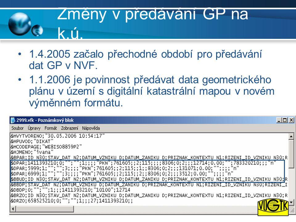 Změny v předávání GP na k.ú.