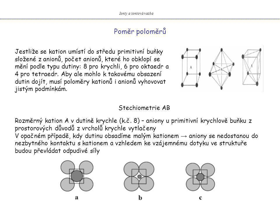 Ionty a iontová vazba Poměr poloměrů.