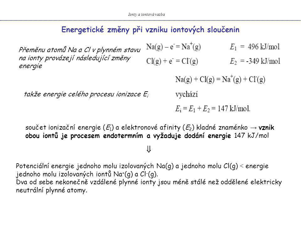 Energetické změny při vzniku iontových sloučenin