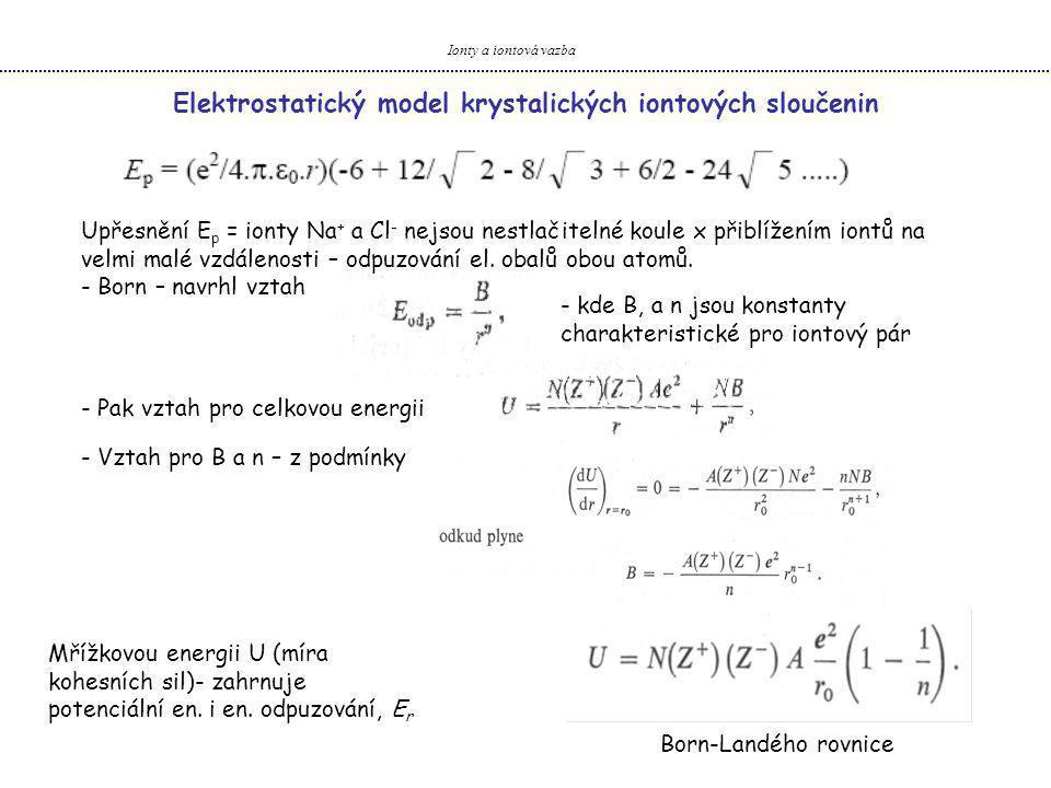 Elektrostatický model krystalických iontových sloučenin