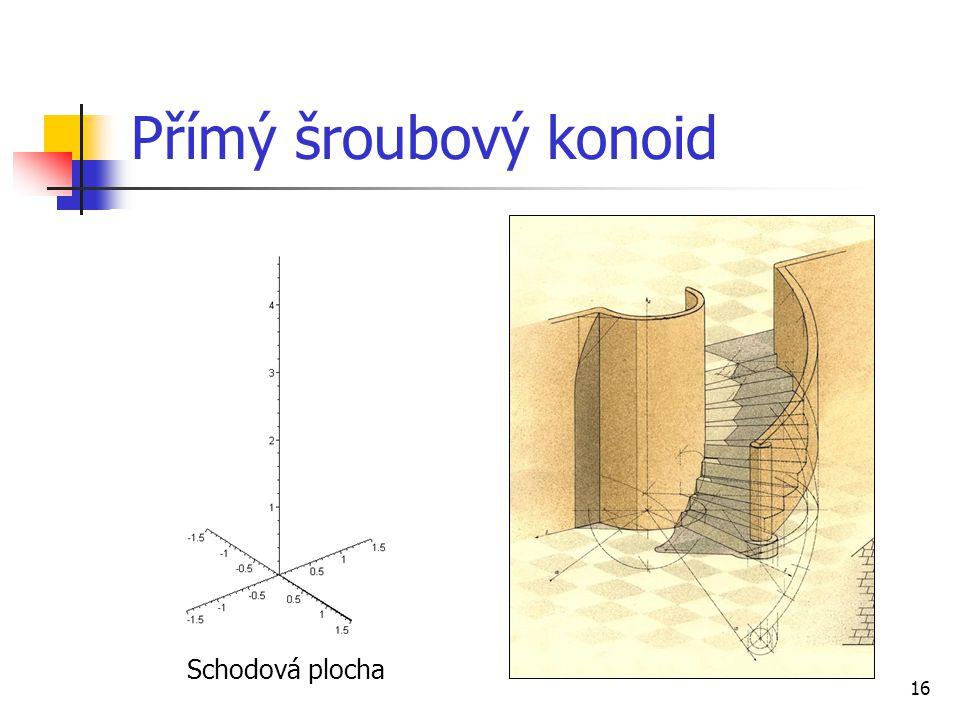 Přímý šroubový konoid Schodová plocha