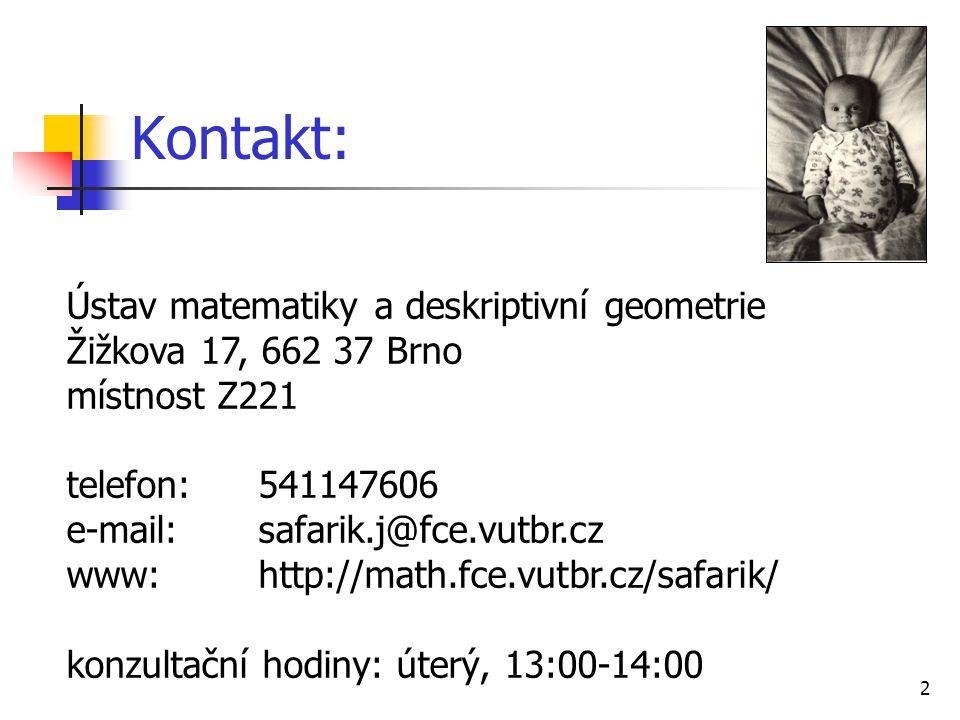 Kontakt: Ústav matematiky a deskriptivní geometrie
