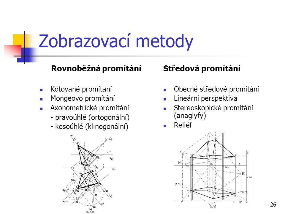 Zobrazovací metody Rovnoběžná promítání Středová promítání