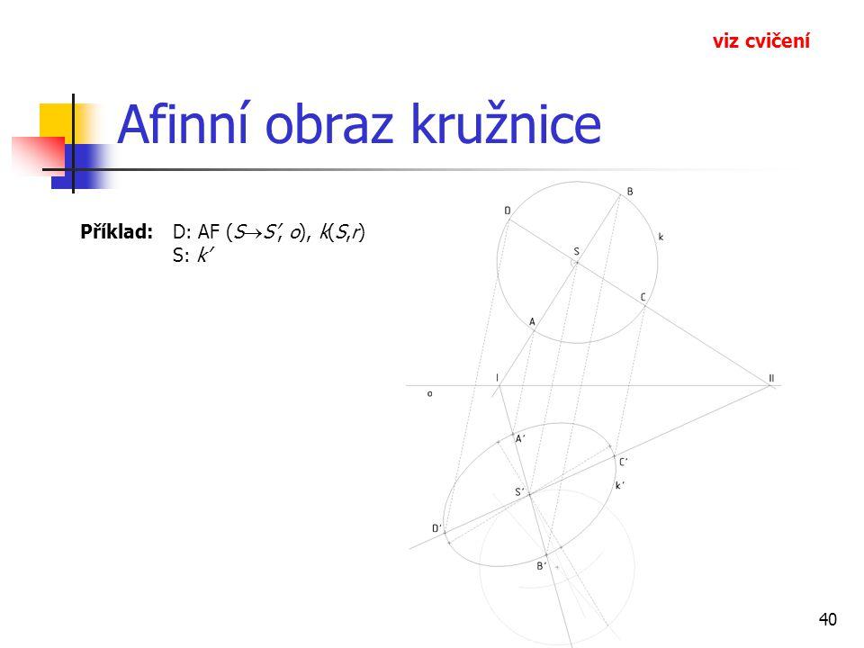 Afinní obraz kružnice viz cvičení
