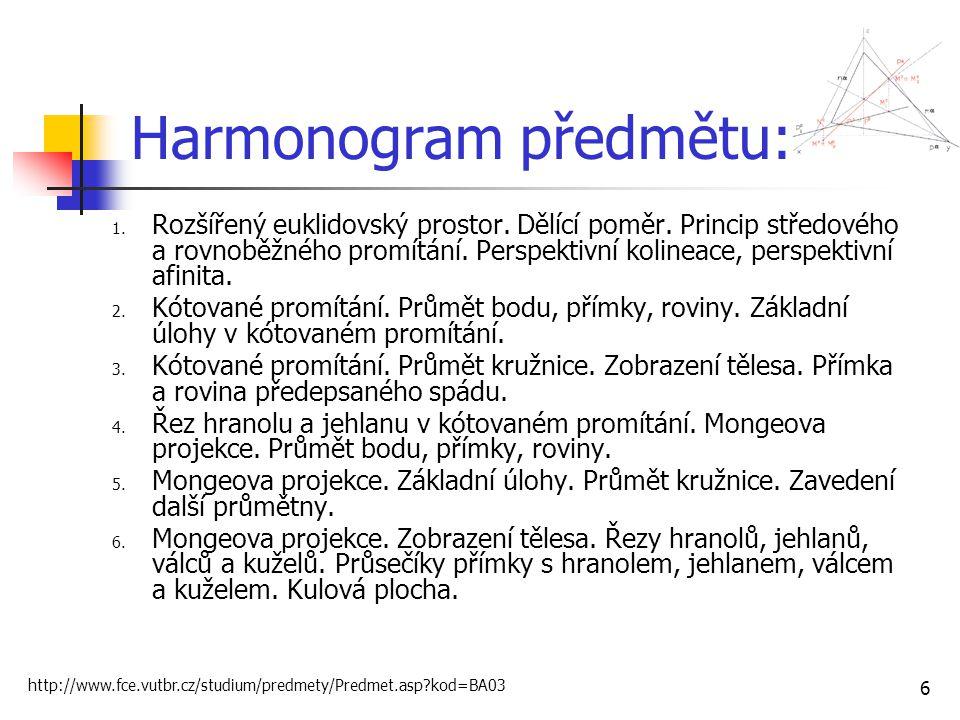 Harmonogram předmětu: