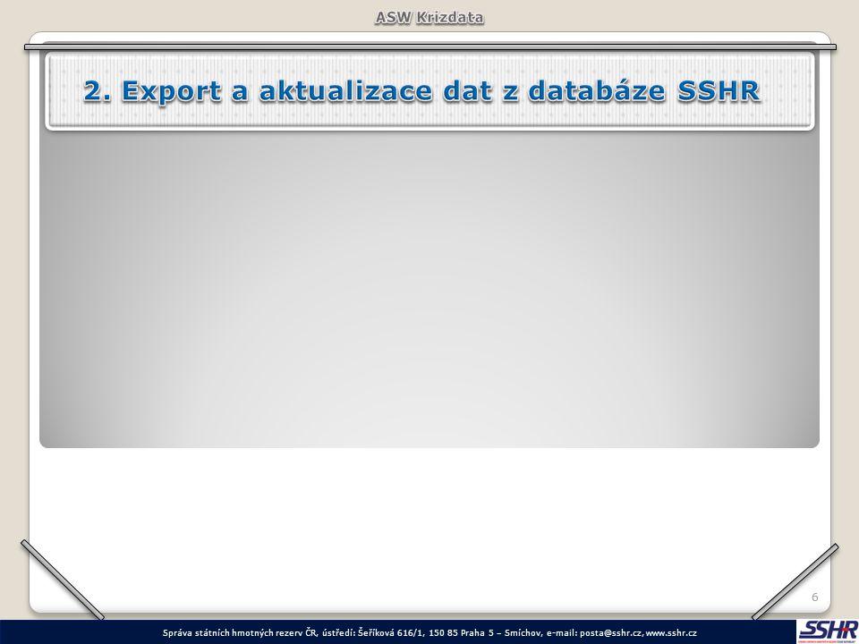 2. Export a aktualizace dat z databáze SSHR