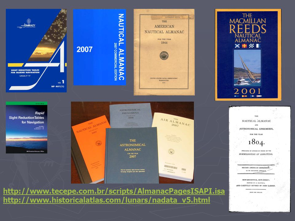 http://www.tecepe.com.br/scripts/AlmanacPagesISAPI.isa http://www.historicalatlas.com/lunars/nadata_v5.html.