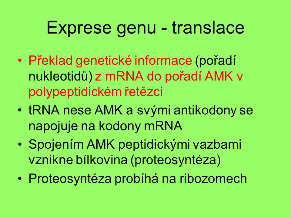 Exprese genu - translace