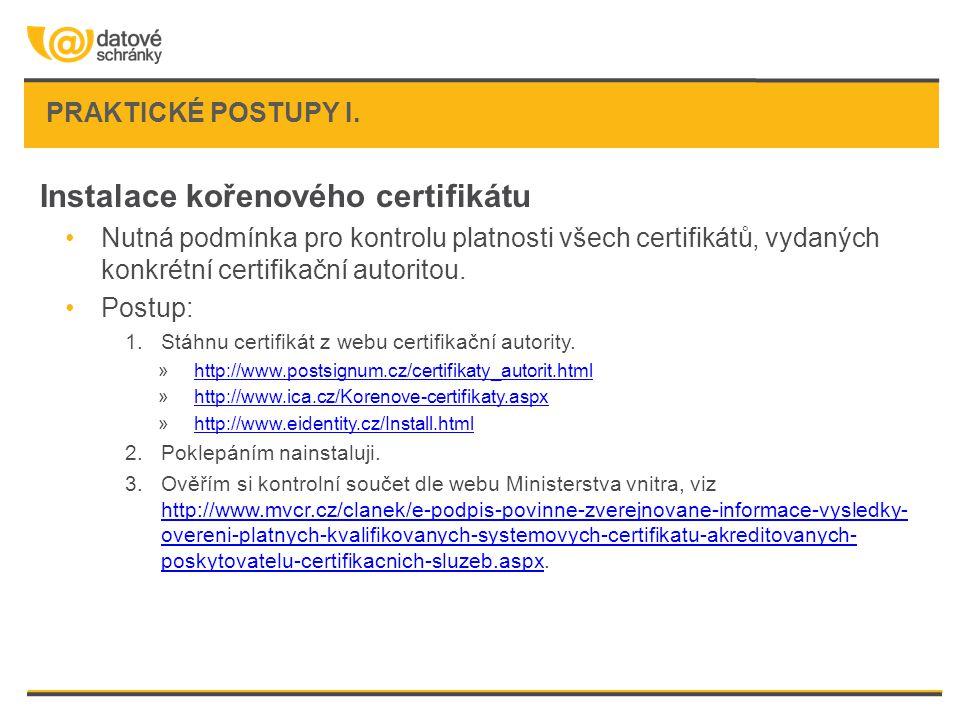 Instalace kořenového certifikátu