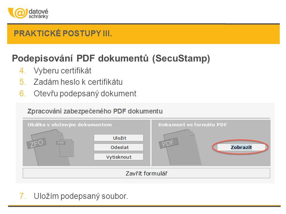 Podepisování PDF dokumentů (SecuStamp)