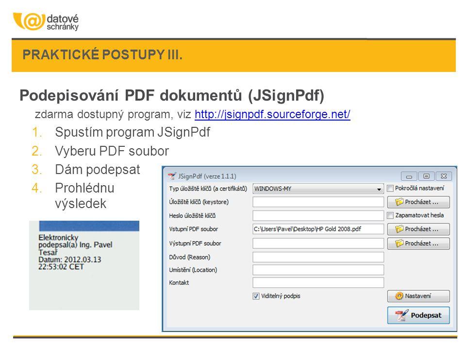Podepisování PDF dokumentů (JSignPdf)
