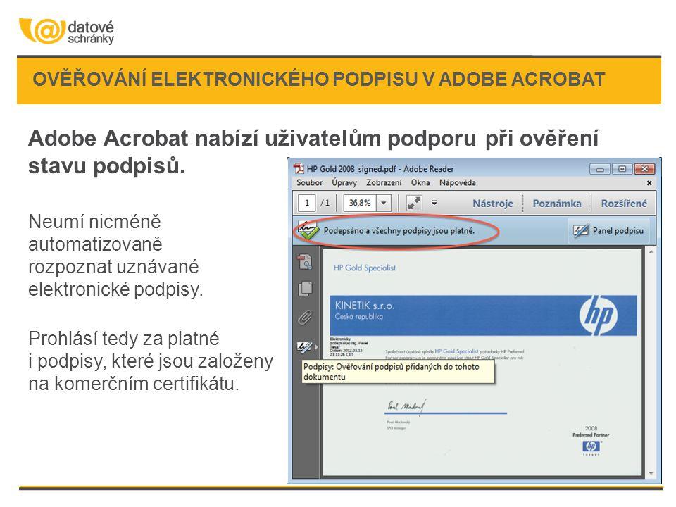 Ověřování elektronického podpisu v Adobe Acrobat