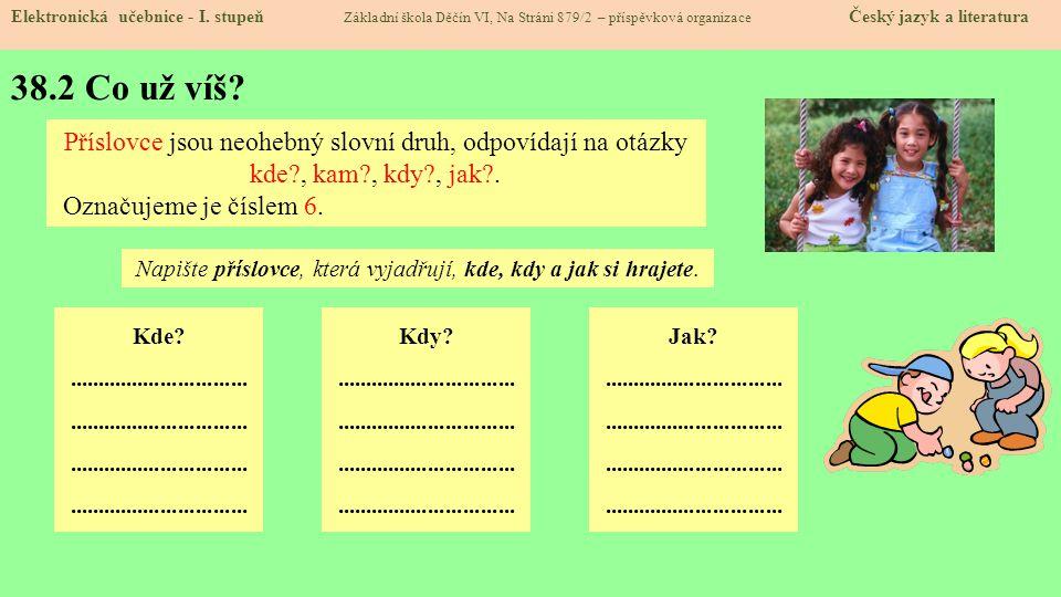 Napište příslovce, která vyjadřují, kde, kdy a jak si hrajete.