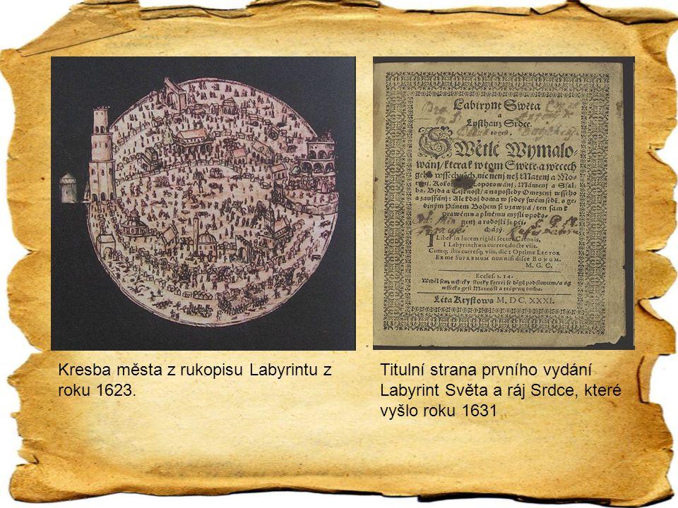 Kresba města z rukopisu Labyrintu z roku 1623.