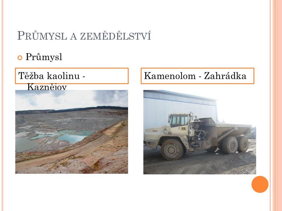 Průmysl a zemědělství Průmysl Těžba kaolinu - Kaznějov