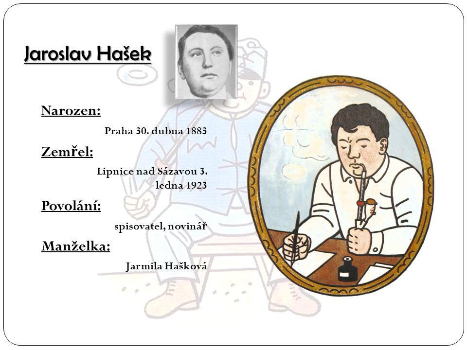 Jaroslav Hašek Narozen: Zemřel: Povolání: Manželka:
