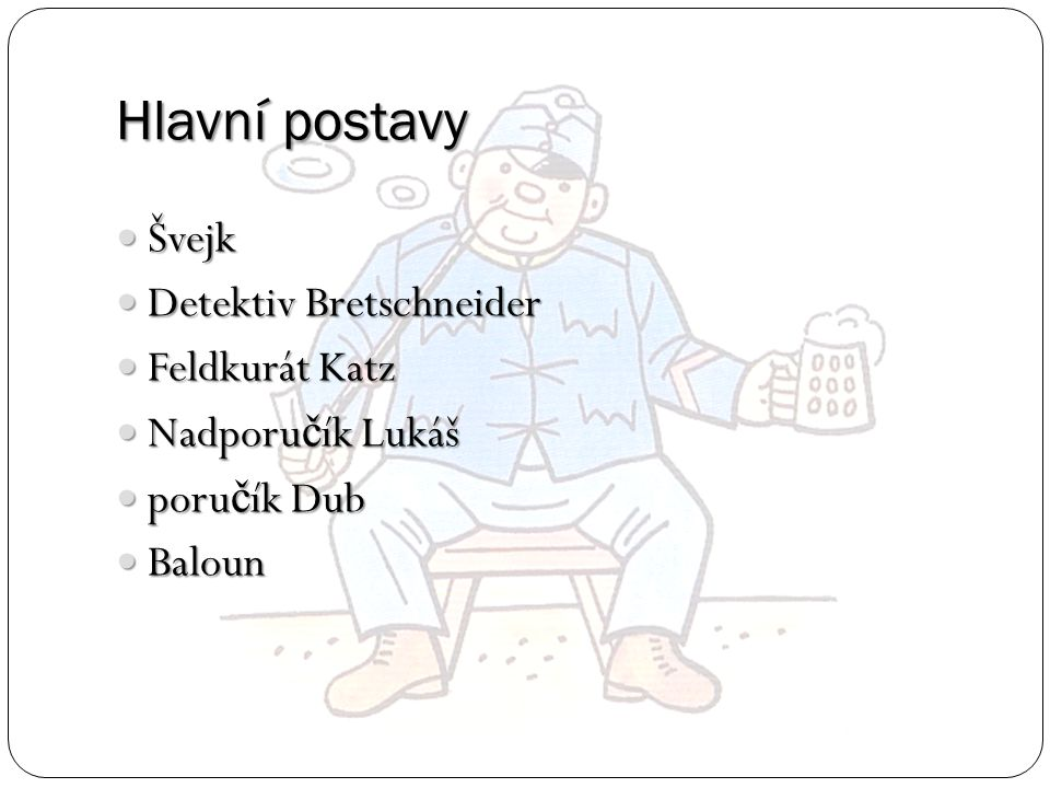 Hlavní postavy Švejk Detektiv Bretschneider Feldkurát Katz