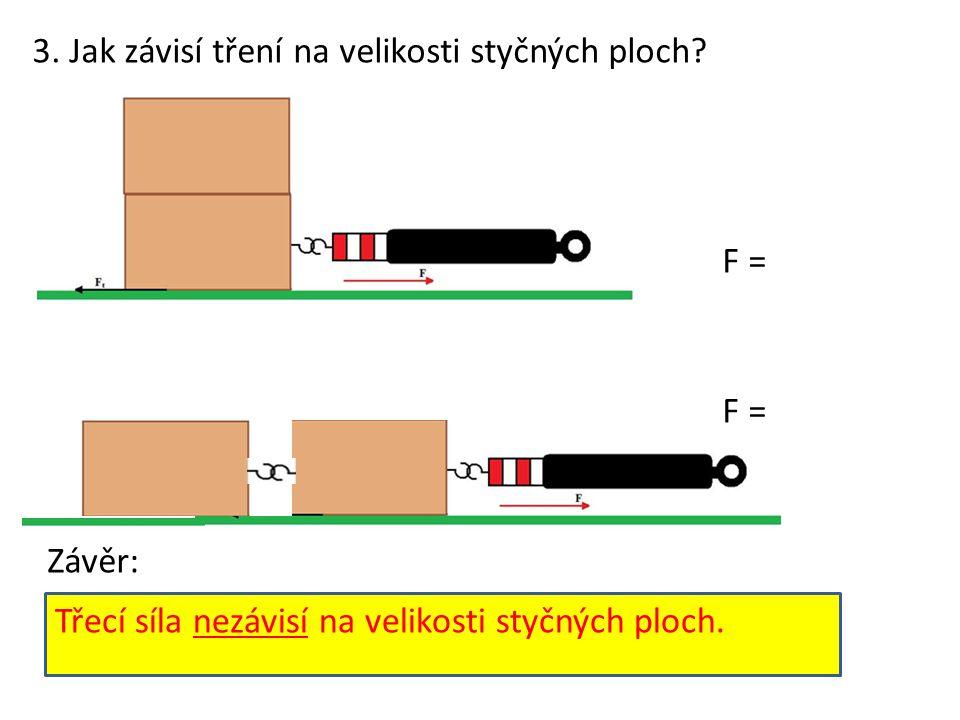 3. Jak závisí tření na velikosti styčných ploch