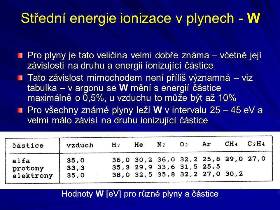 Střední energie ionizace v plynech - W