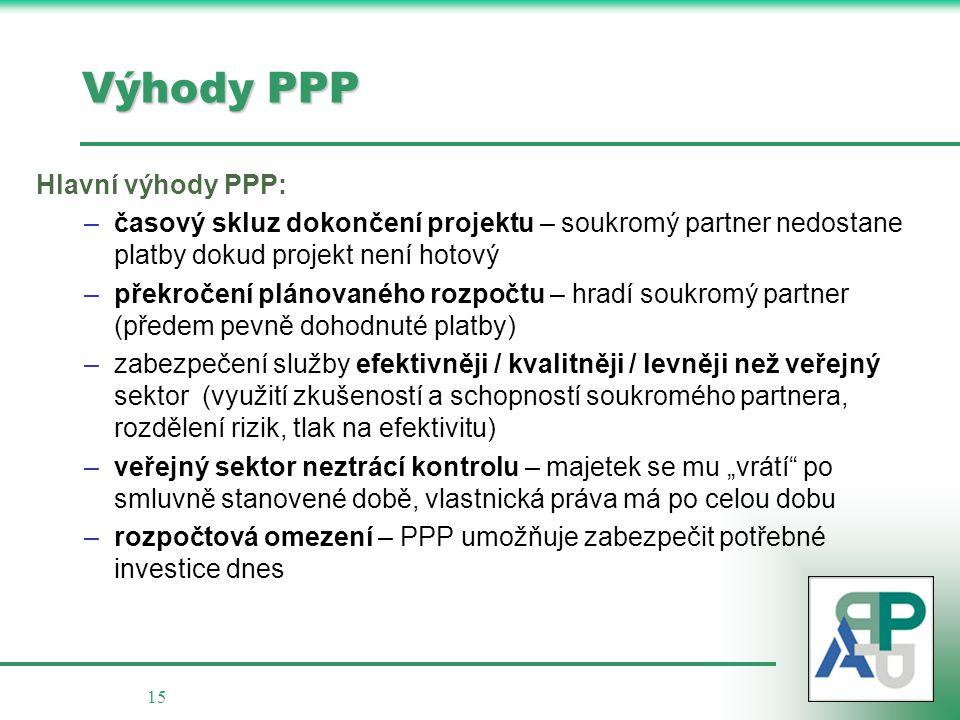 Výhody PPP Hlavní výhody PPP: