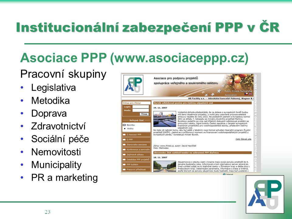 Institucionální zabezpečení PPP v ČR