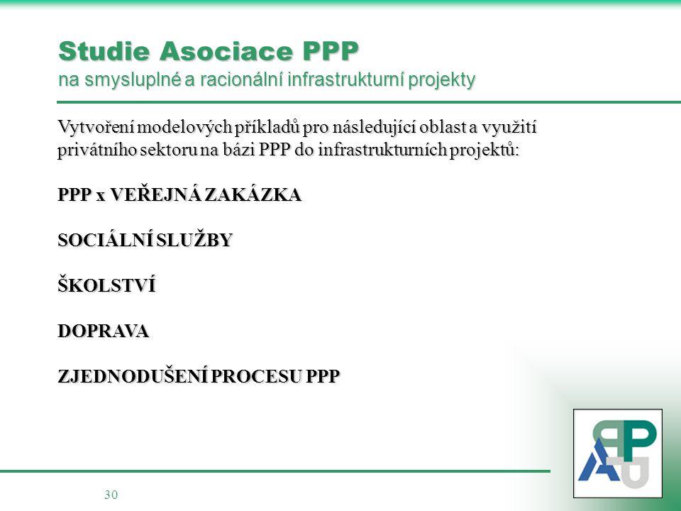 Studie Asociace PPP na smysluplné a racionální infrastrukturní projekty