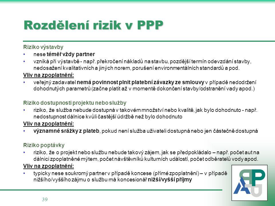 Rozdělení rizik v PPP Riziko výstavby nese téměř vždy partner