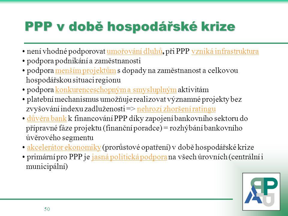 PPP v době hospodářské krize