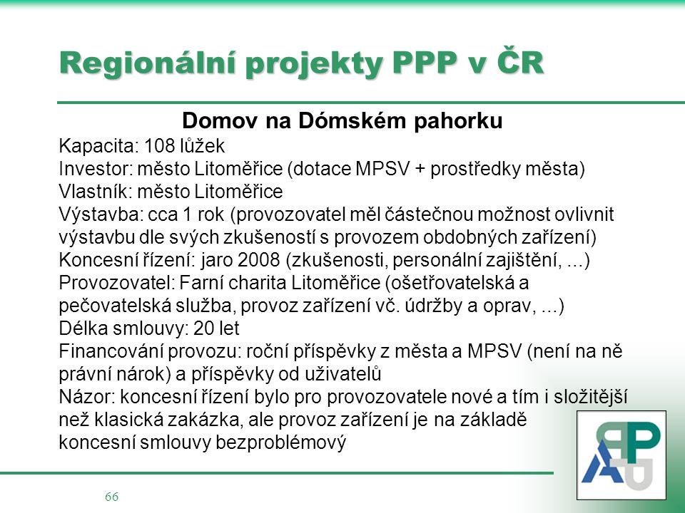 Regionální projekty PPP v ČR