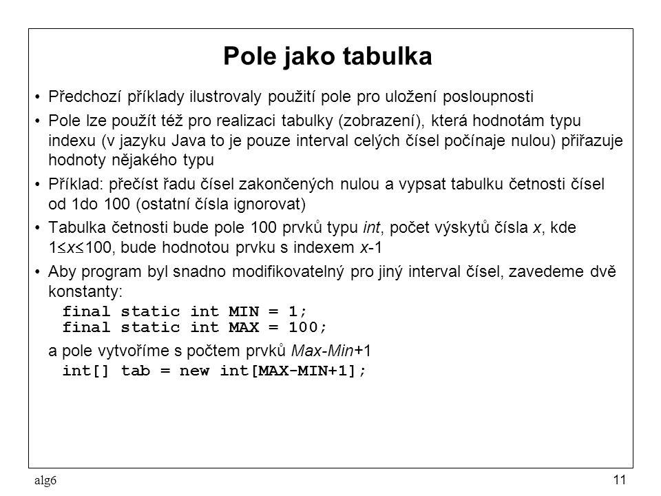 Pole jako tabulka Předchozí příklady ilustrovaly použití pole pro uložení posloupnosti.