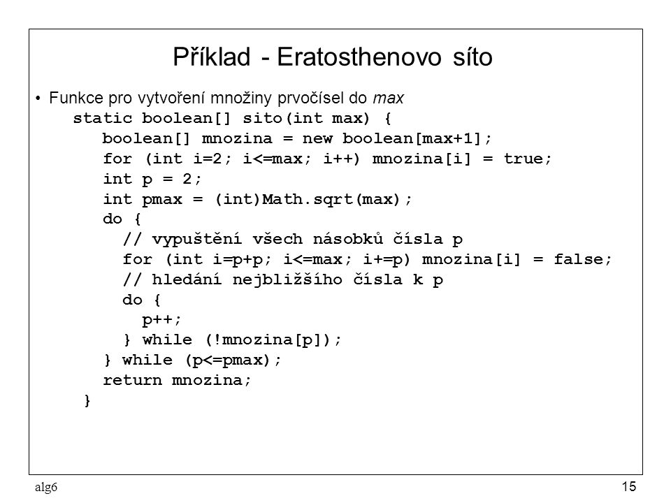 Příklad - Eratosthenovo síto