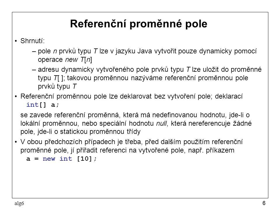 Referenční proměnné pole