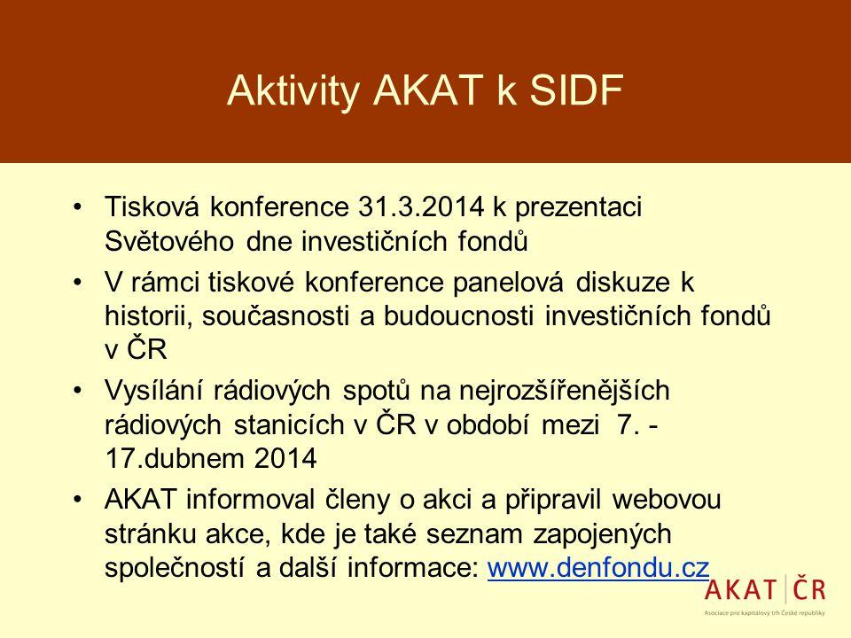 Aktivity AKAT k SIDF Tisková konference 31.3.2014 k prezentaci Světového dne investičních fondů.