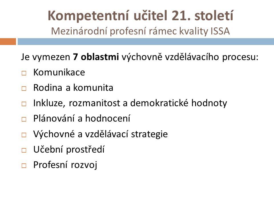 Kompetentní učitel 21. století Mezinárodní profesní rámec kvality ISSA