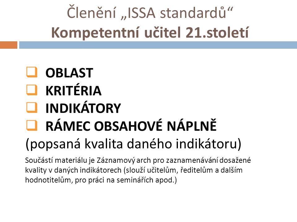 """Členění """"ISSA standardů Kompetentní učitel 21.století"""
