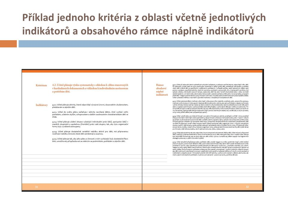 Příklad jednoho kritéria z oblasti včetně jednotlivých indikátorů a obsahového rámce náplně indikátorů