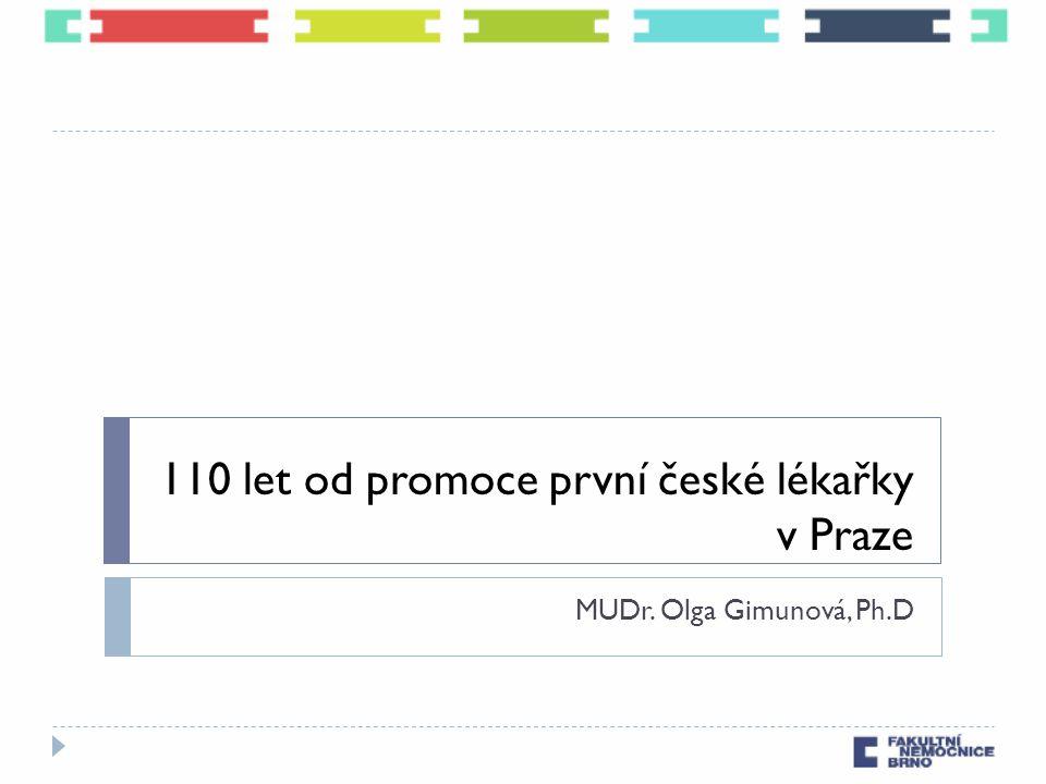 110 let od promoce první české lékařky v Praze