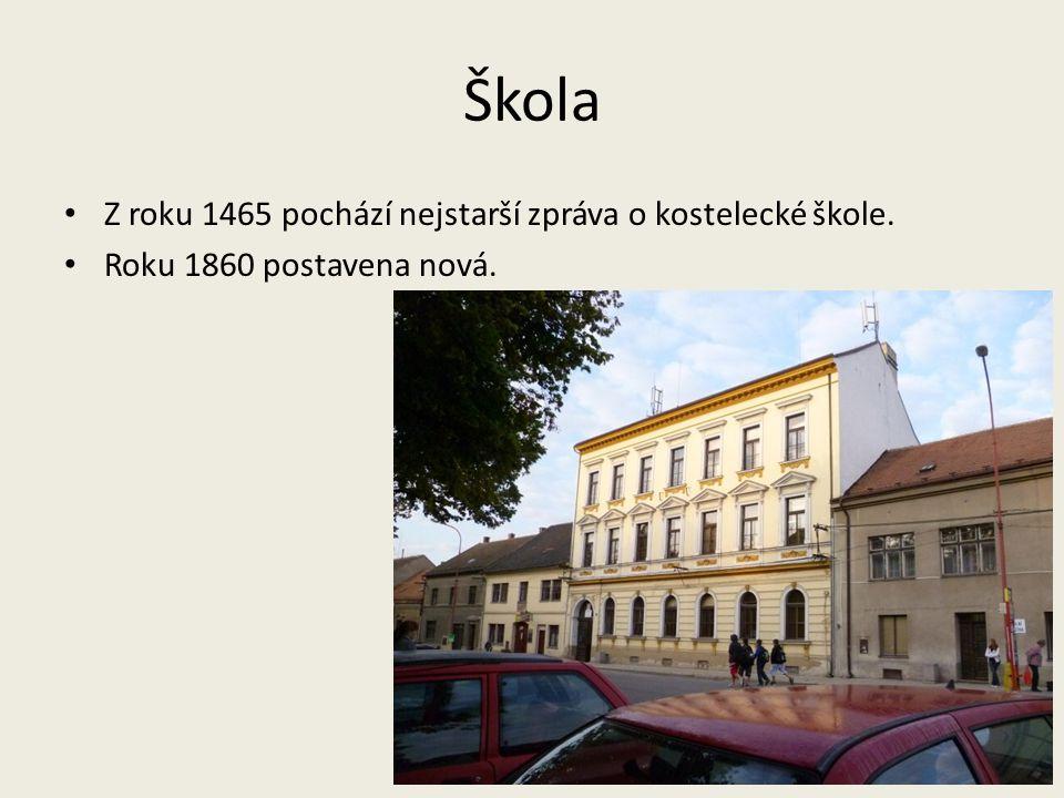 Škola Z roku 1465 pochází nejstarší zpráva o kostelecké škole.