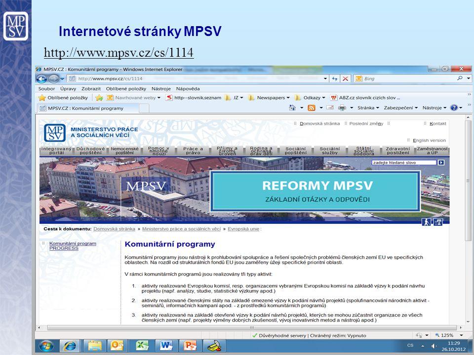 Internetové stránky MPSV