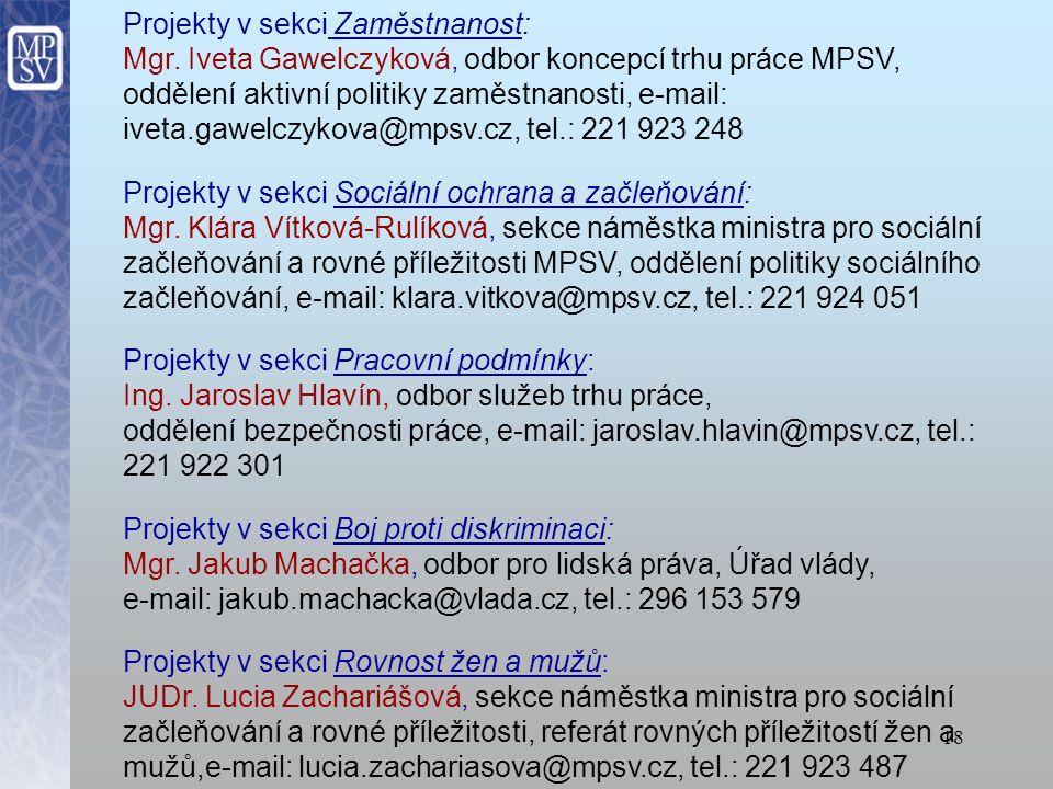 Projekty v sekci Zaměstnanost: