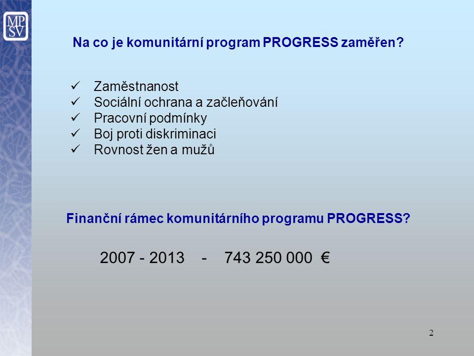 Na co je komunitární program PROGRESS zaměřen