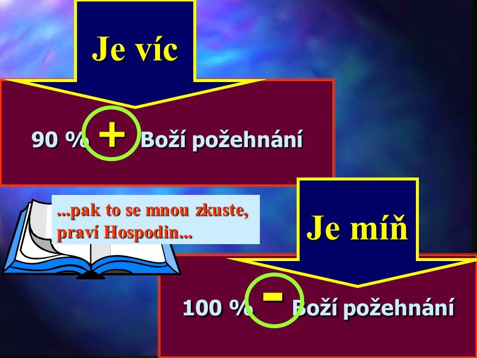 Je víc Je míň 90 % + Boží požehnání 100 % - Boží požehnání