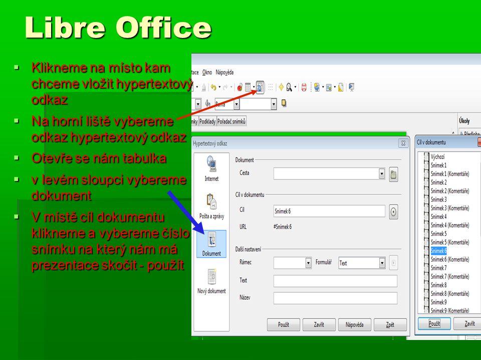 Libre Office Klikneme na místo kam chceme vložit hypertextový odkaz