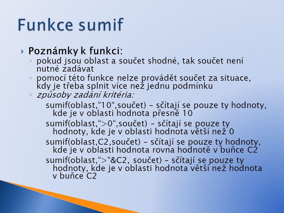 Funkce sumif Poznámky k funkci:
