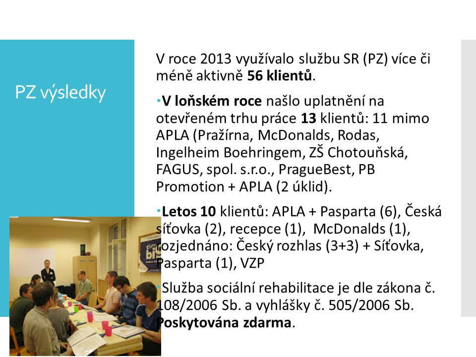 V roce 2013 využívalo službu SR (PZ) více či méně aktivně 56 klientů.