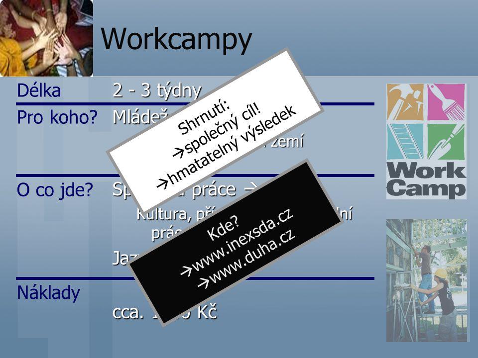 Workcampy Délka Pro koho 2 - 3 týdny Mládež Společná práce  Projekt