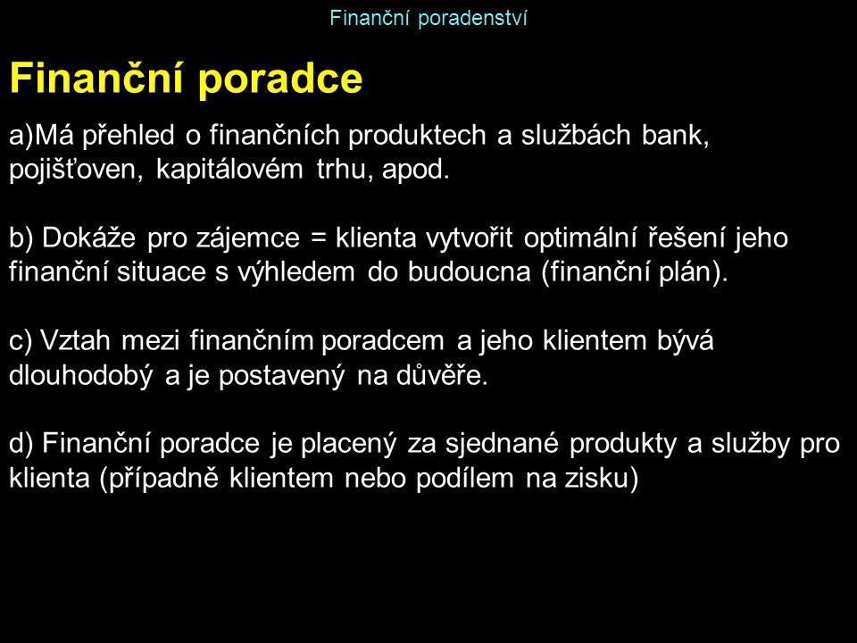 Finanční poradenství Finanční poradce. Má přehled o finančních produktech a službách bank, pojišťoven, kapitálovém trhu, apod.